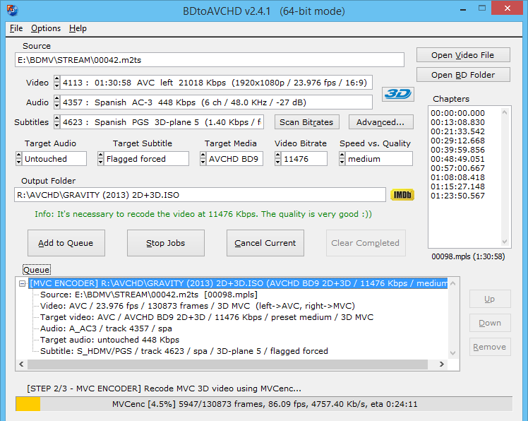 BDtoAVCHD - Main Screen